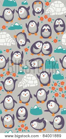 Cartoon vector seamless pattern with cute penguins. Funny background