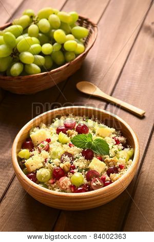 Couscous Salad with Grape, Pomegranate, Nut, Cheese