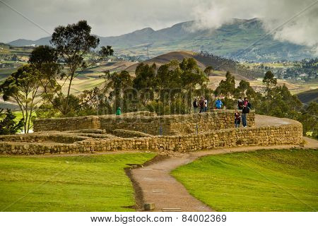 Unidentified tourists visiting Ingapirca, important Inca ruins in Ecuador