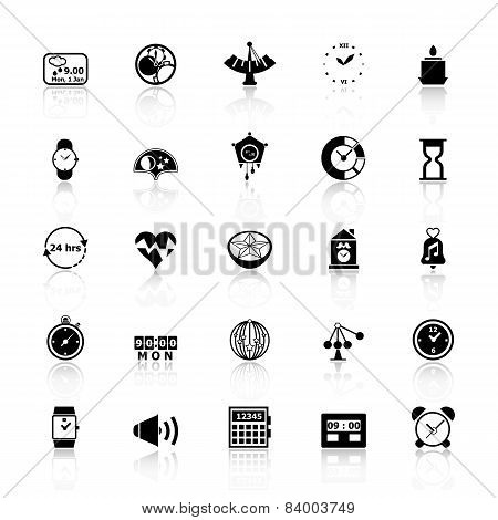 Design Time Icons With Reflect On White Background