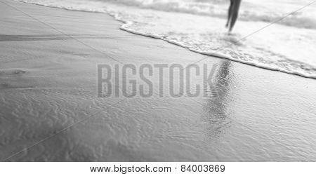 Beach Walking Black And White