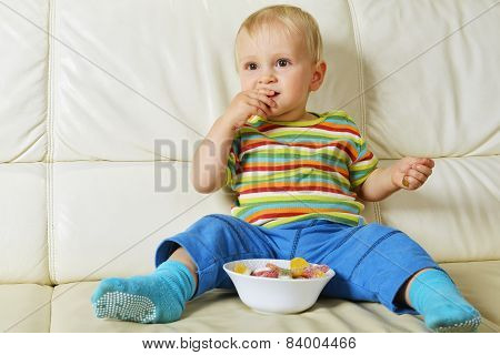 Boy Eating Sweets