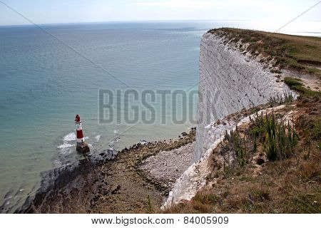 White Cliffs And Lighthouse At Beachy Head