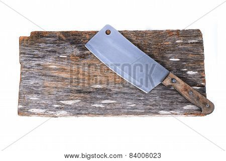 Chopping Block And Cleaver Isolated On White Background