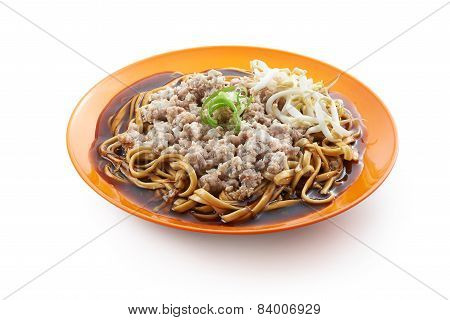 Fried Noodle With Minced Pork And Bean Spouts