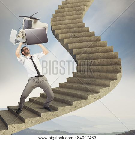 Overload businessman