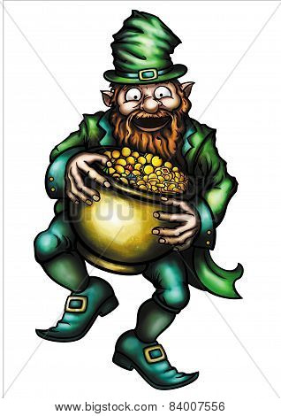 Happy Leprechaun And A Pot Of Gold