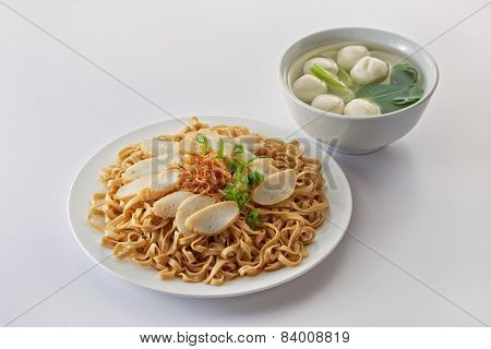Fried Noodle With Fish Cake And Fishball Soup