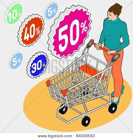 Isometric Grocery Shopping - Sale - Walking Woman With Empty Shopping Cart And Discounts