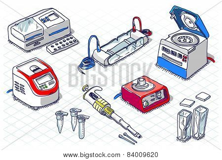 Isometric Sketch - Molecular Biology - Laboratory Set
