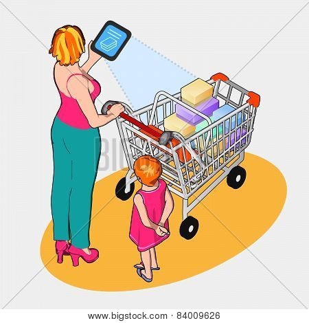 Isometric Internet Of Things - Woman With Full Shopping Cart And Tablet Device