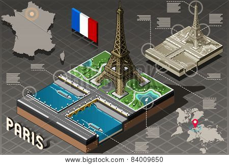 Isometric Infographic Tour Eiffel In Paris - Hd Quality