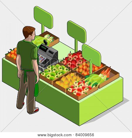 Isometric Greengrocer Shop - Man Owner - Rear View Standing People