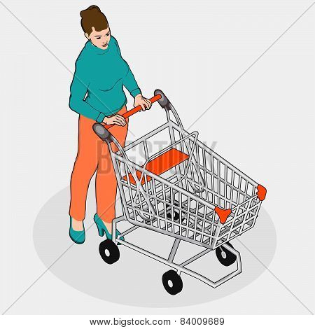 Isometric Grocery Shopping - Walking Woman With Empty Shopping Cart
