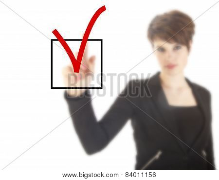 Young Woman With Checkbox Isolated On White Background
