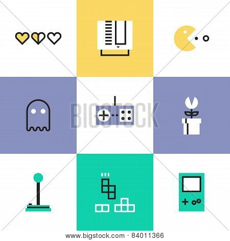 Retro Gaming Pictogram Icons Set