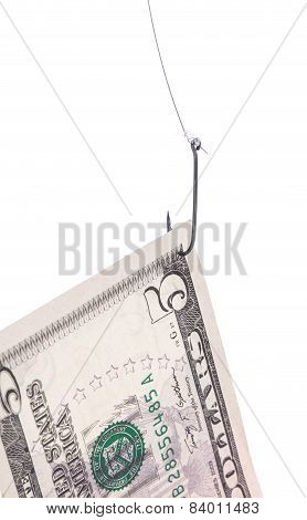 Five dollar bill on a hook