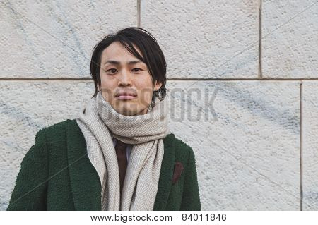 Man Posing Outside Gabriele Colangelo Fashion Show Building For Milan Women's Fashion Week 2015