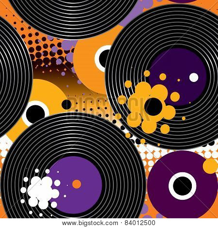 Pattern with vinyl recors.