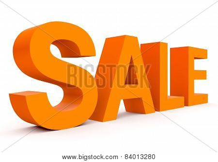 Sale - Orange 3D Letters Isolated On White