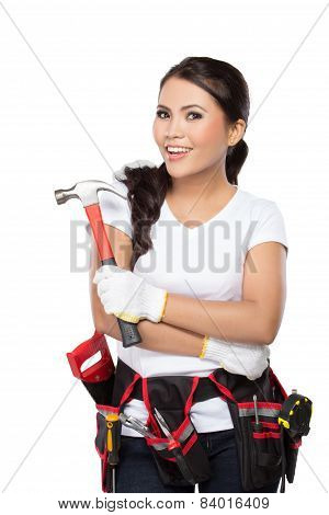 Female Construction Worker Ready To Work