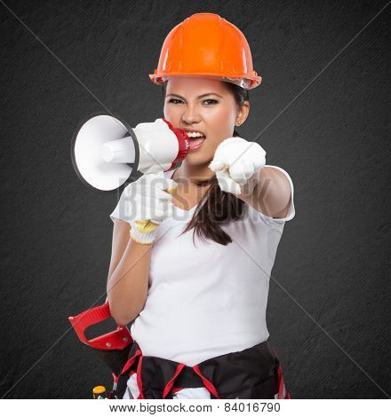 Female Construction Worker Shouting