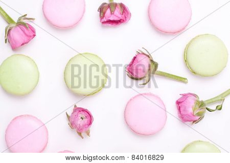 green and pink macaroons