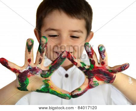 Boy's Hands In Paint