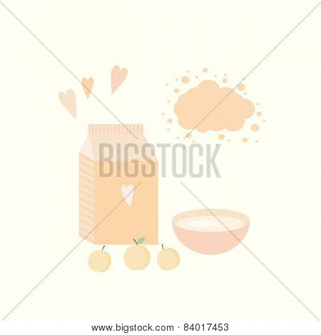 Vector Illustration With Yoghurt And Apricots On A Table