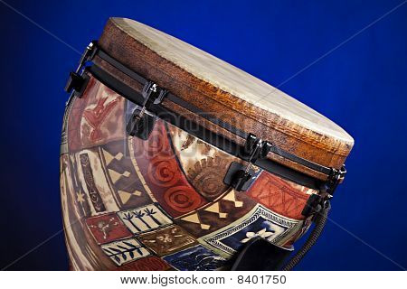 African Latin Djembe Drum On Blue