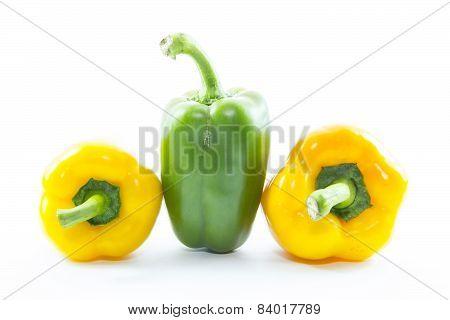 Green Chili Capsicum Between Yellow