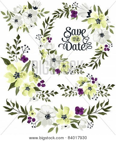 flower wreath vector set