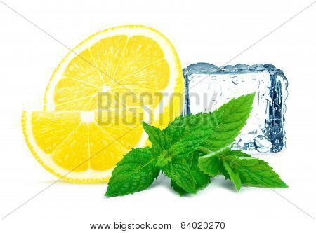 lemon with mint and ice