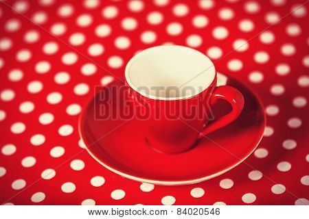 Red Coffee Cup On Polka Dot Cover