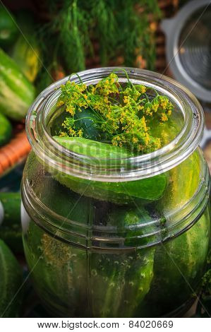 Closeup Jar Pickles Other Ingredients Pickling