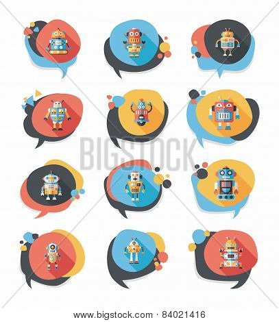 Robot Concept Flat Speech Bubble Background,eps10