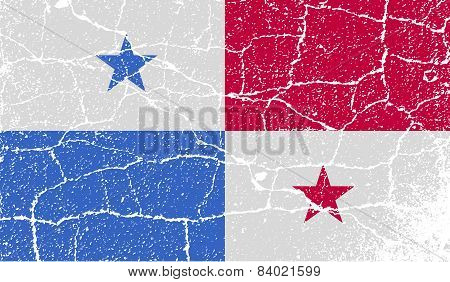Flag Of Panama With Old Texture. Vector