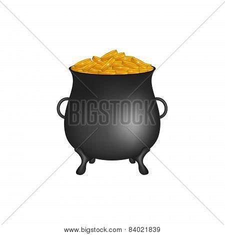 Black pot with golden money coins