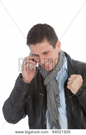 Happy Businessman Received A Good News On Phone