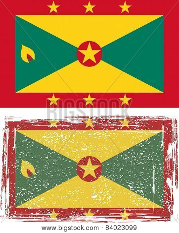 Grenada grunge flag. Vector illustration