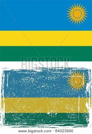 Rwanda grunge flag. Vector illustration