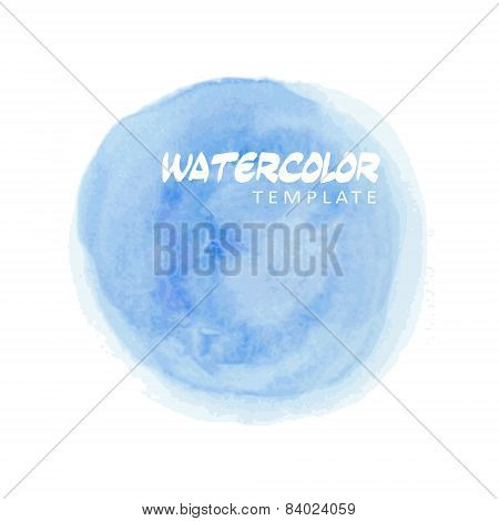 Blue Watercolor Splatter, Vector Illustration Background