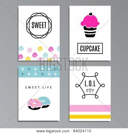 Set Of Greeting Or Journaling Cards With Cupcakes And Doughnuts