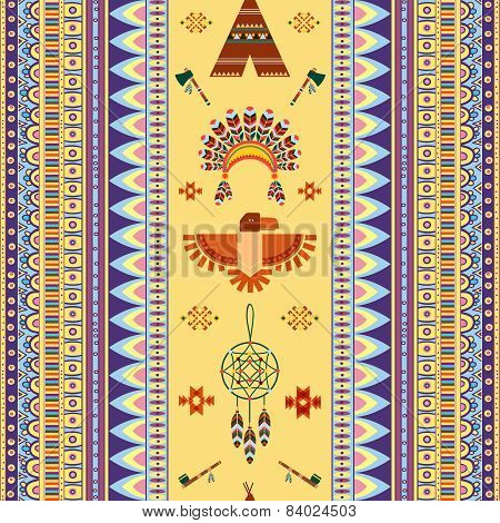 Vector vintage tribal ethnic seamless pattern for business
