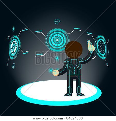 Futuristic interface. Man pushes button