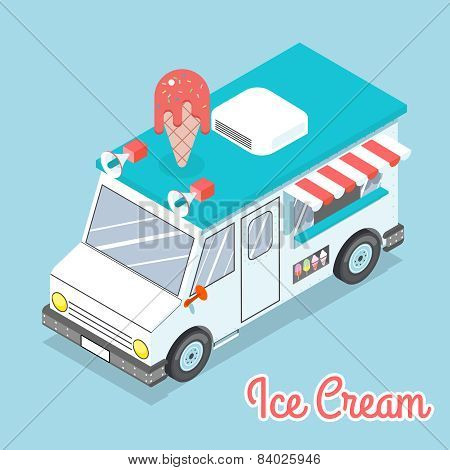 Flat 3d isometric ice cream truck with text