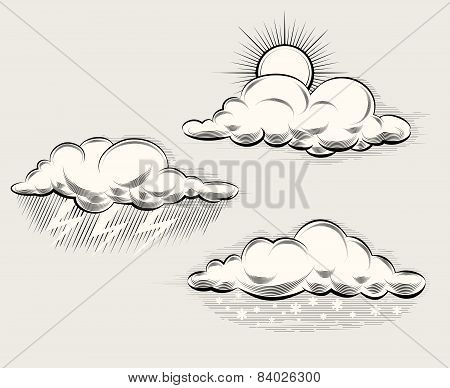 Engraving weather. Sun behind cloud, rain and lightning