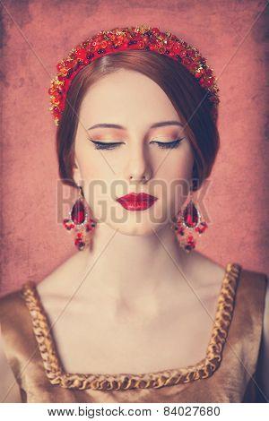 Portrait Of The Beautiful Redhead Women In Wreath.