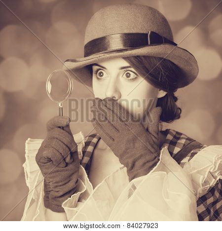 Beautiful Women With Magnifying Glass.