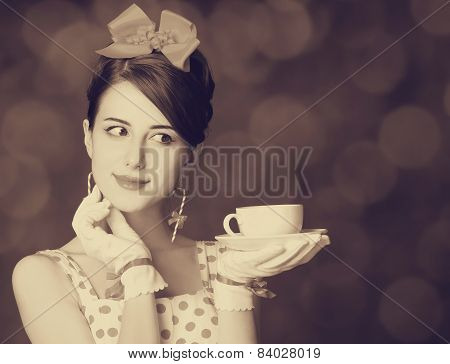 Beautiful Women With Cup Of Tea.